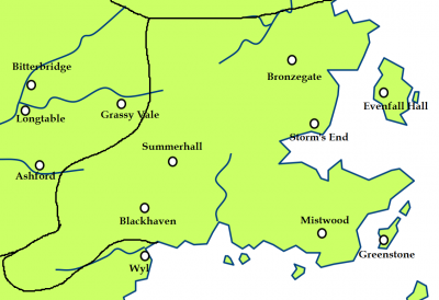 The stormlands and the location of Bronzegate
