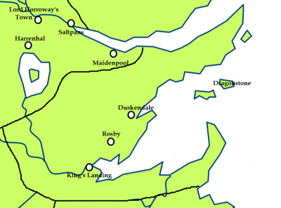The Crownlands and the location of Claw Isle