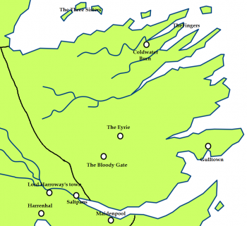 The Vale of Arryn and the location of the Three Sisters